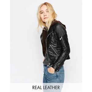 Doma Punched Scaled Textured Leather Jacket, Black
